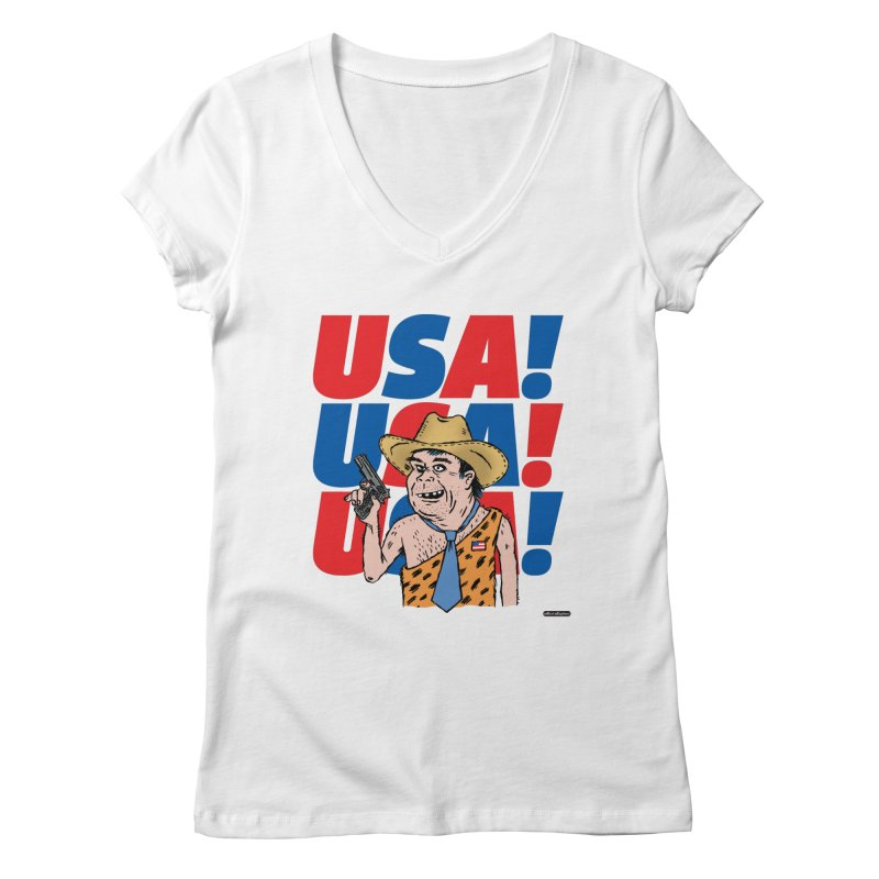 USA! USA! USA! Women's Regular V-Neck by DRAWMARK