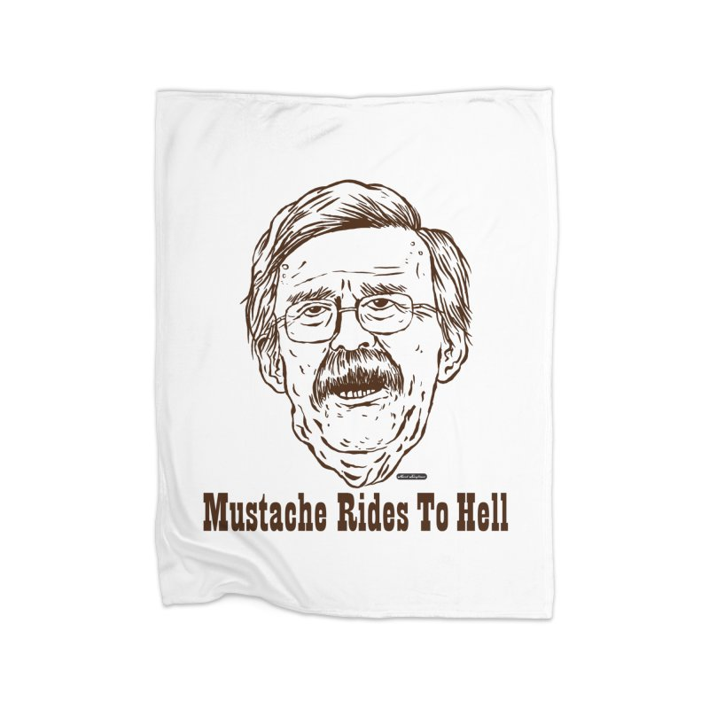 John Bolton - Mustache Rides To Hell Home Fleece Blanket Blanket by DRAWMARK