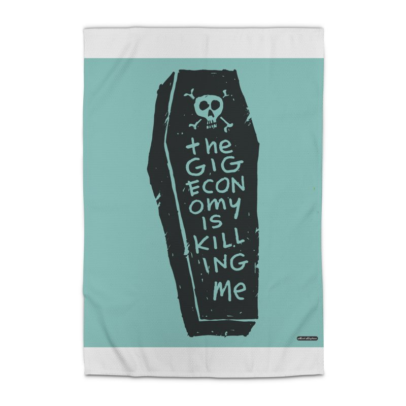 The Gig Economy is Killing Me / Green Home Rug by DRAWMARK