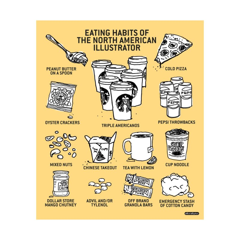 Eating Habits of the North American Illustrator Home Fine Art Print by DRAWMARK