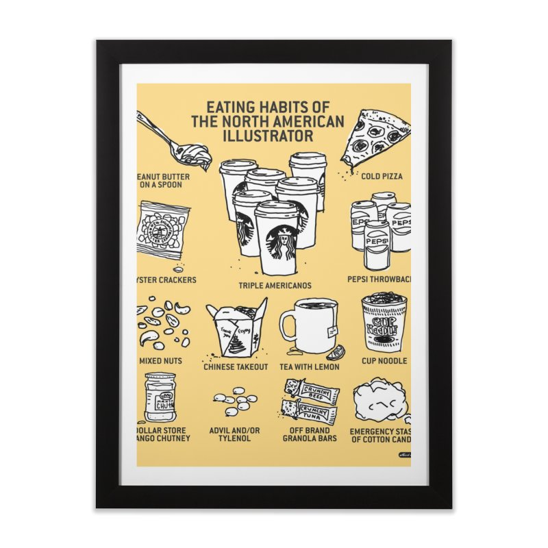 Eating Habits of the North American Illustrator Home Framed Fine Art Print by DRAWMARK