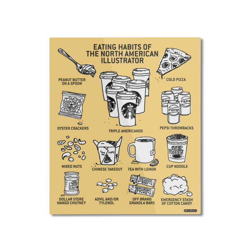 Eating Habits of the North American Illustrator Home Mounted Aluminum Print by DRAWMARK