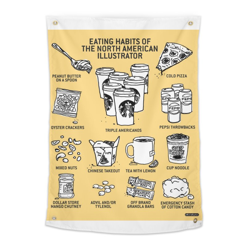 Eating Habits of the North American Illustrator Home Tapestry by DRAWMARK