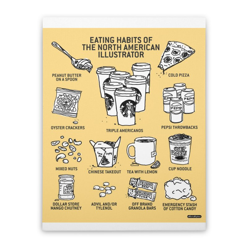 Eating Habits of the North American Illustrator Home Stretched Canvas by DRAWMARK