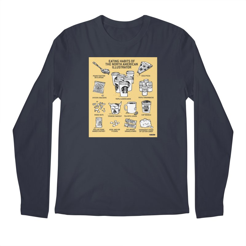 Eating Habits of the North American Illustrator Men's Regular Longsleeve T-Shirt by DRAWMARK