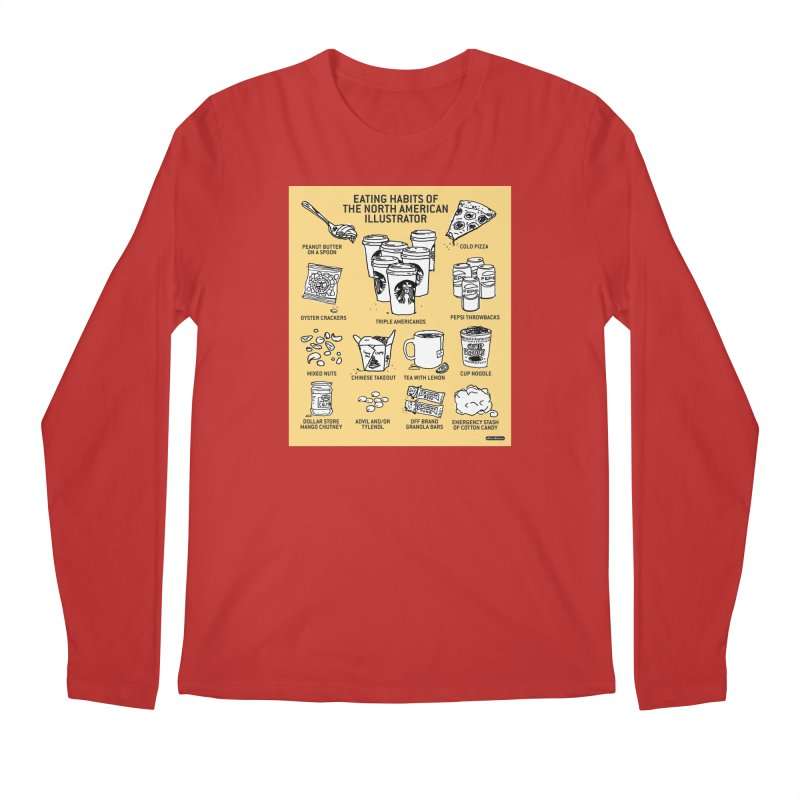 Eating Habits of the North American Illustrator Men's Regular Longsleeve T-Shirt by DRAWMARK