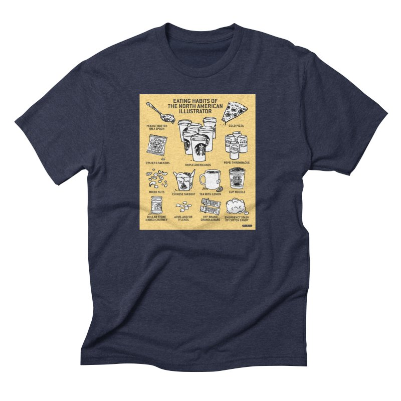 Eating Habits of the North American Illustrator Men's Triblend T-Shirt by DRAWMARK
