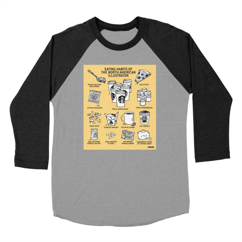 Eating Habits of the North American Illustrator Men's Baseball Triblend Longsleeve T-Shirt by DRAWMARK