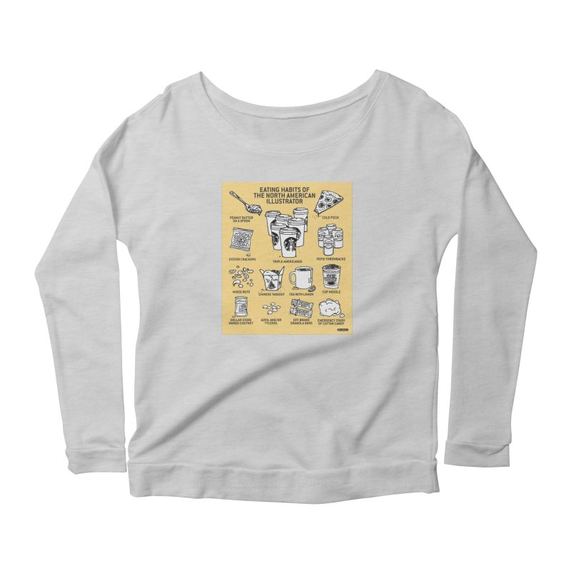 Eating Habits of the North American Illustrator Women's Scoop Neck Longsleeve T-Shirt by DRAWMARK
