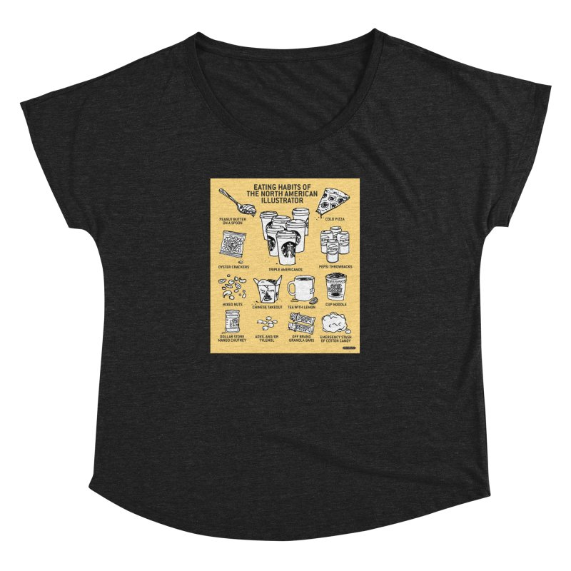 Eating Habits of the North American Illustrator Women's Dolman Scoop Neck by DRAWMARK