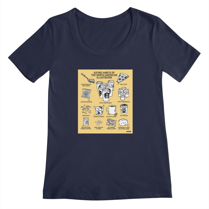 Eating Habits of the North American Illustrator Women's Scoopneck by DRAWMARK