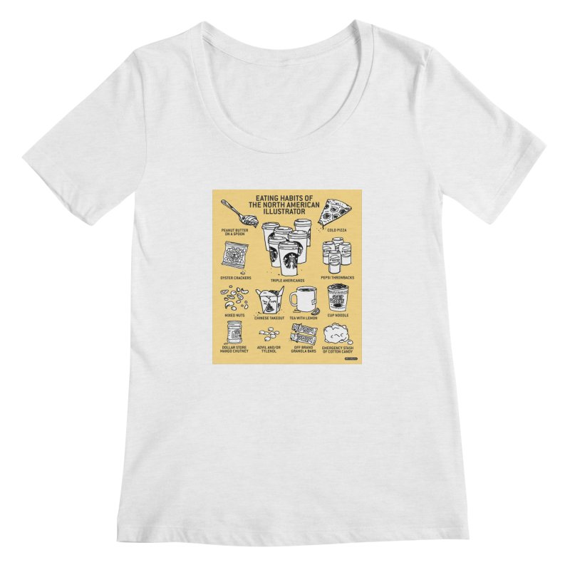 Eating Habits of the North American Illustrator Women's Regular Scoop Neck by DRAWMARK