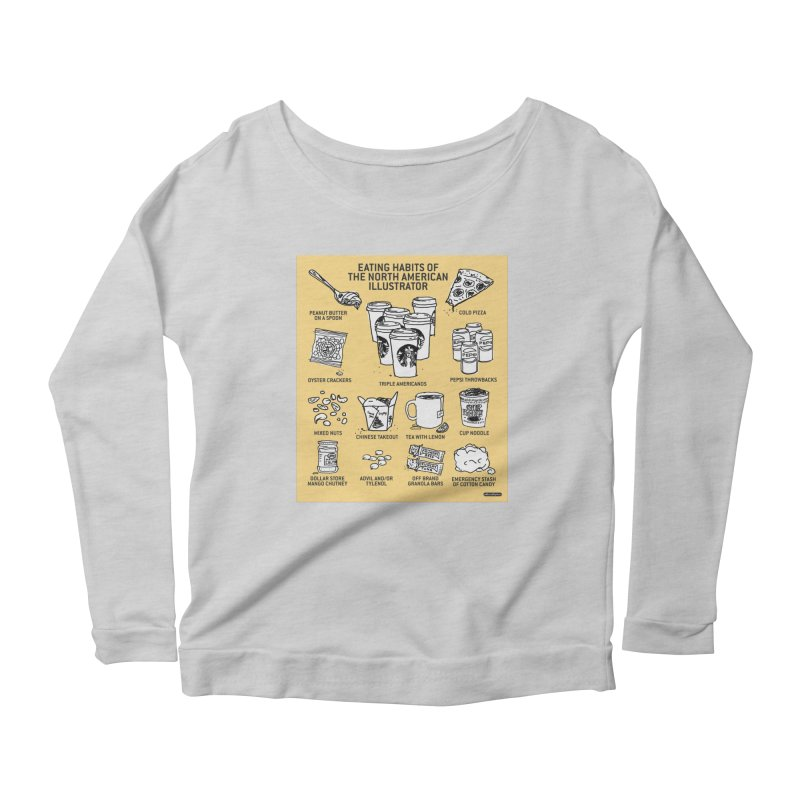 Eating Habits of the North American Illustrator Women's Longsleeve Scoopneck  by DRAWMARK