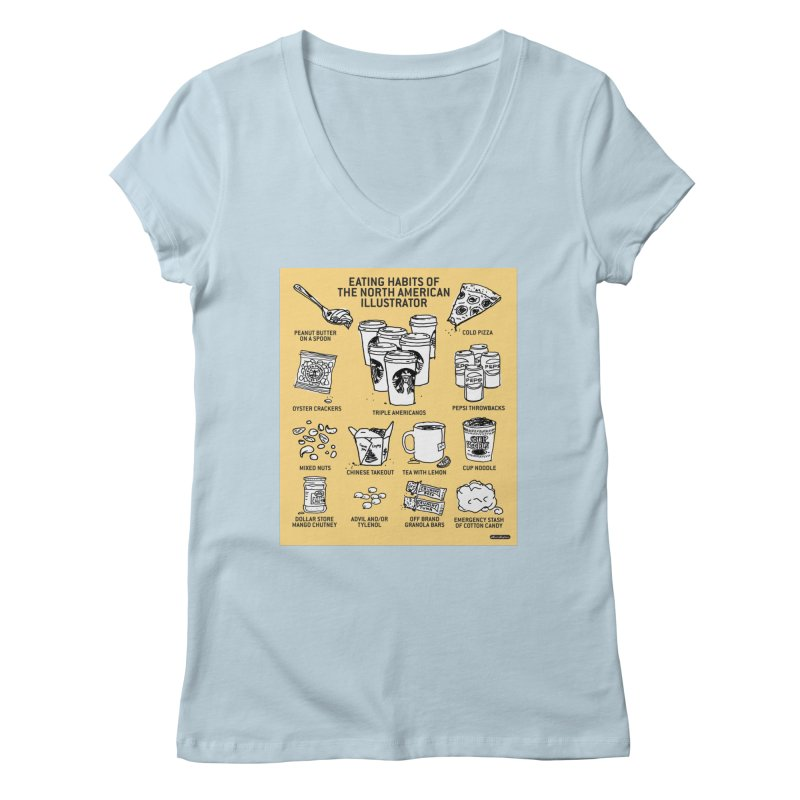 Eating Habits of the North American Illustrator Women's Regular V-Neck by DRAWMARK