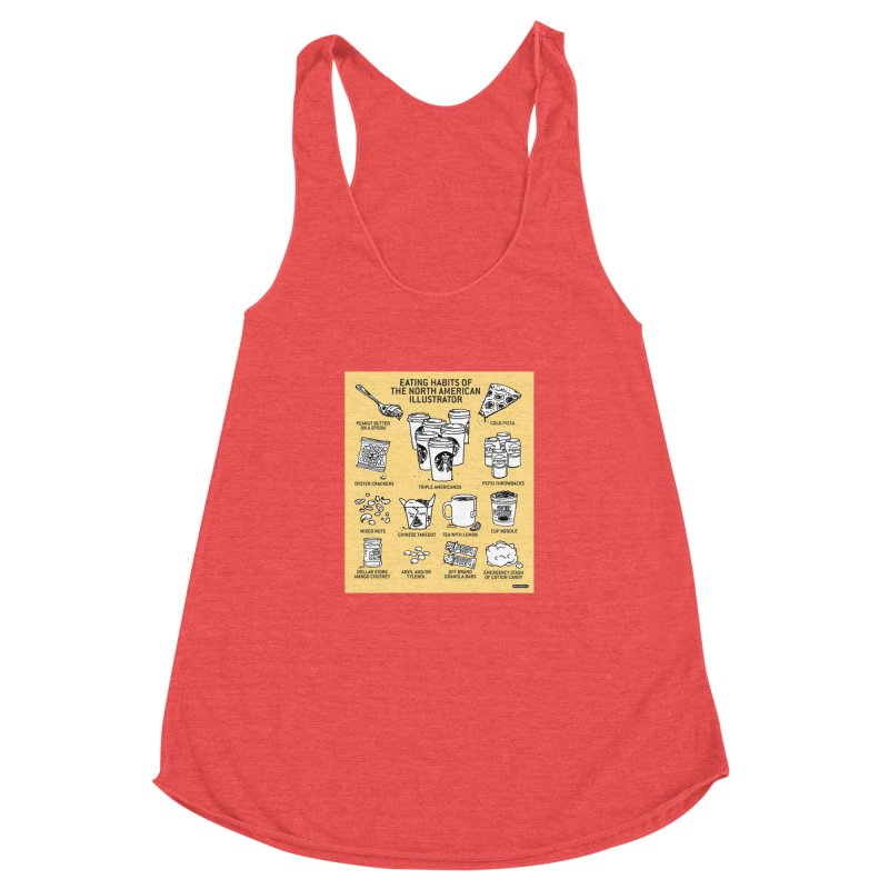 Eating Habits of the North American Illustrator Women's Racerback Triblend Tank by DRAWMARK