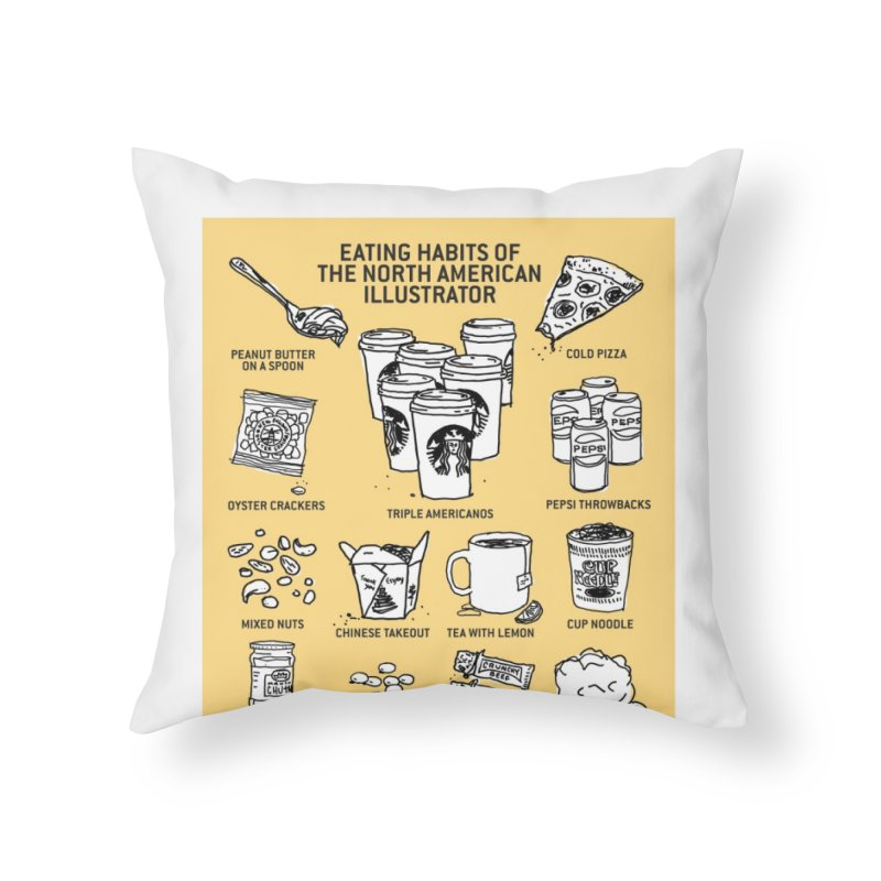 Eating Habits of the North American Illustrator Home Throw Pillow by DRAWMARK