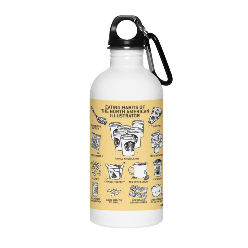 Eating Habits of the North American Illustrator Accessories Water Bottle by DRAWMARK