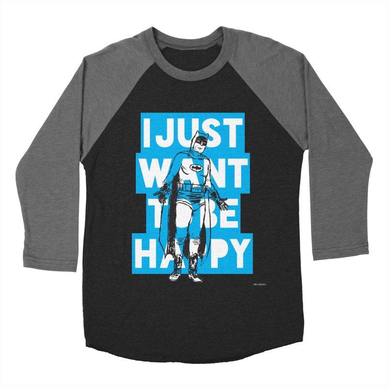 Happy Batman Women's Baseball Triblend Longsleeve T-Shirt by DRAWMARK
