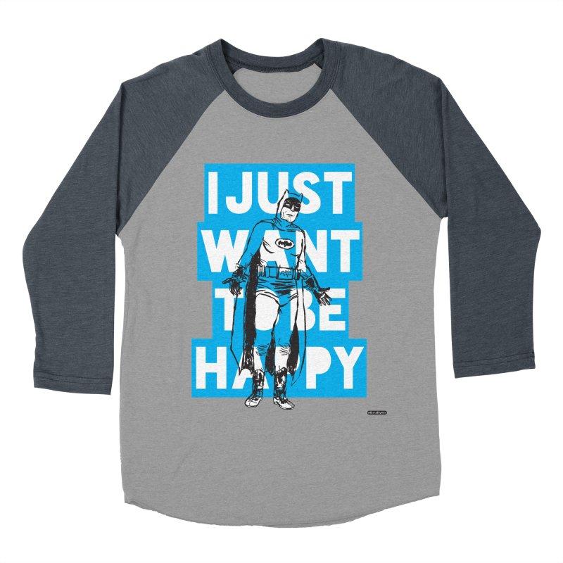 Happy Batman Men's Baseball Triblend Longsleeve T-Shirt by DRAWMARK