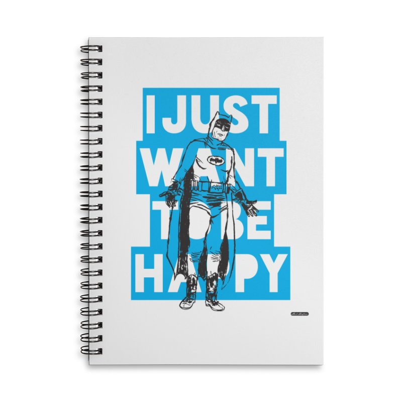 Happy Batman Accessories Lined Spiral Notebook by DRAWMARK
