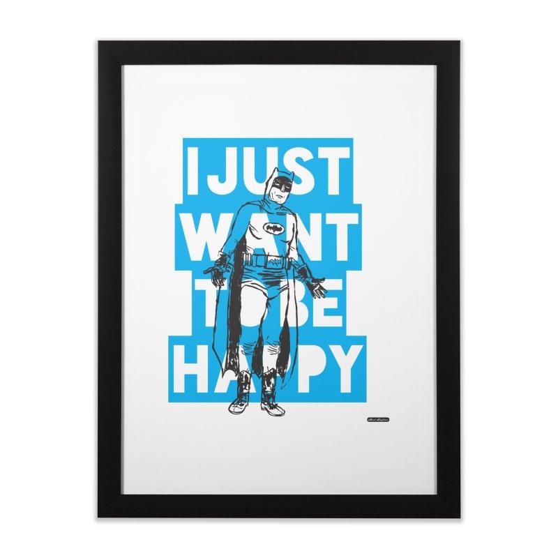 Happy Batman Home Framed Fine Art Print by DRAWMARK