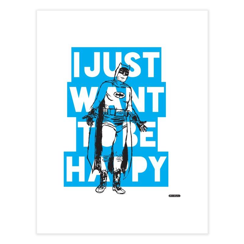 Happy Batman Home Fine Art Print by DRAWMARK