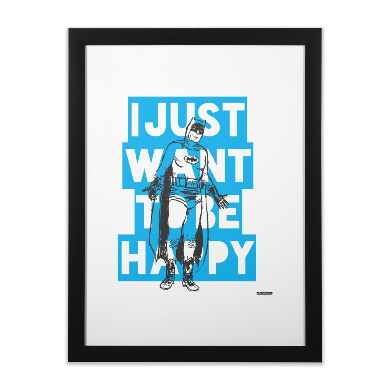 Happy Batman Home Framed Fine Art Print by DRAWMARK