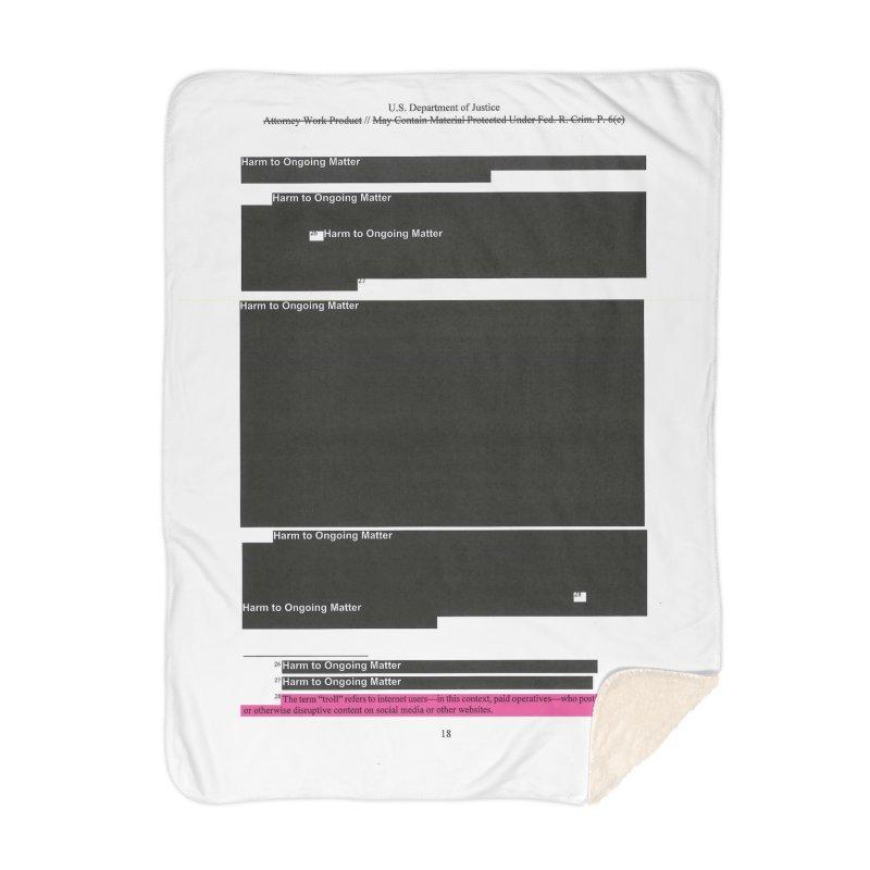 Redacted Mueller Report Page 18 Home Blanket by DRAWMARK