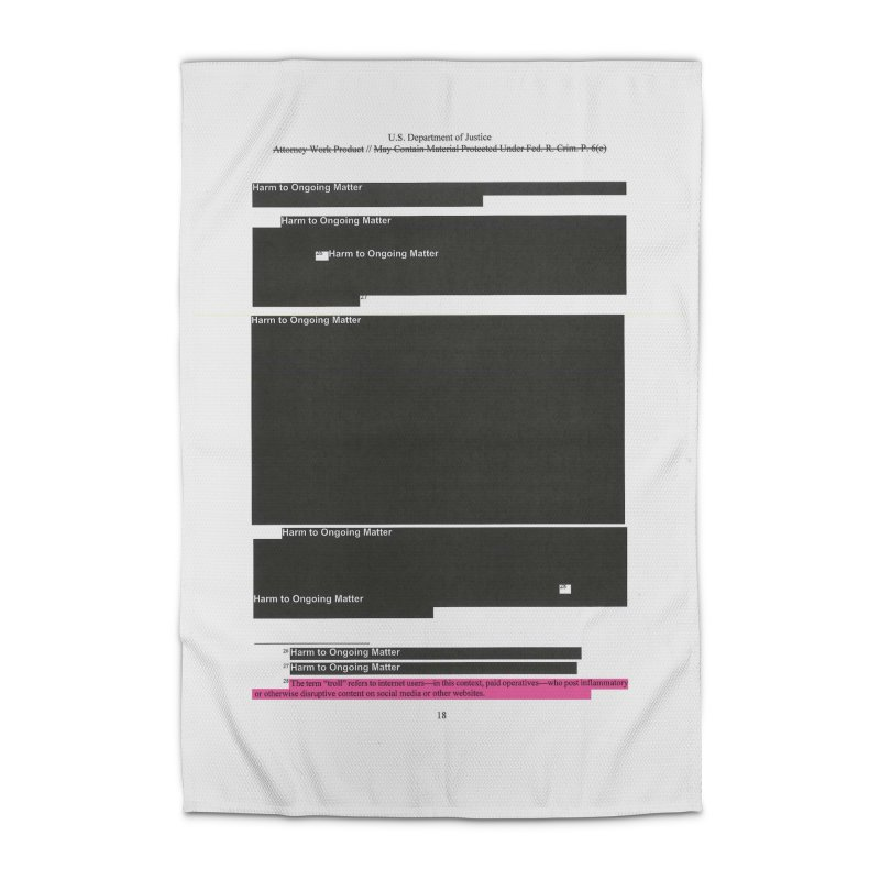 Redacted Mueller Report Page 18 Home Rug by DRAWMARK