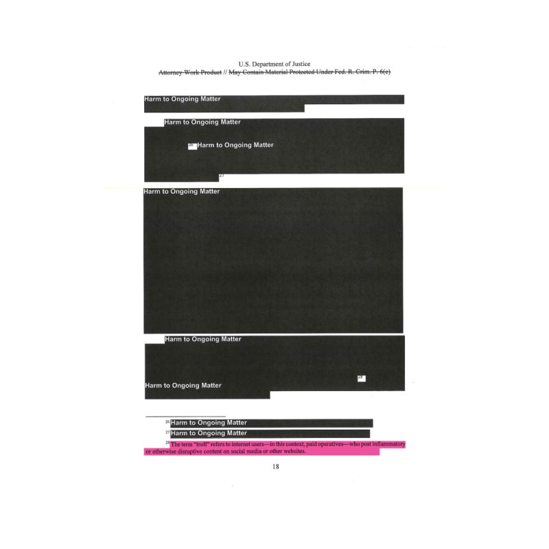 Redacted Mueller Report Page 18 Home Mounted Aluminum Print by DRAWMARK