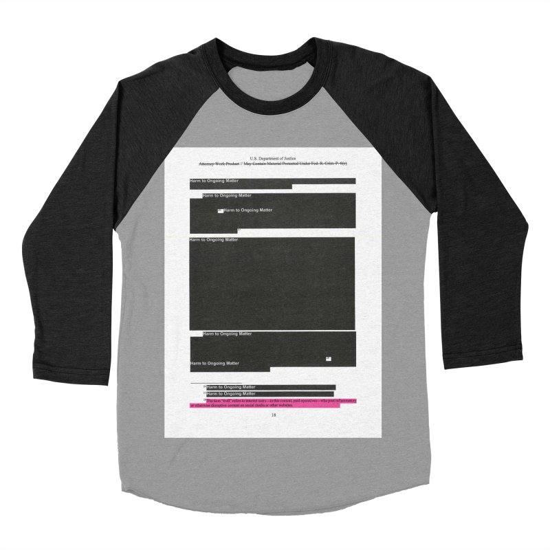 Redacted Mueller Report Page 18 Men's Baseball Triblend Longsleeve T-Shirt by DRAWMARK