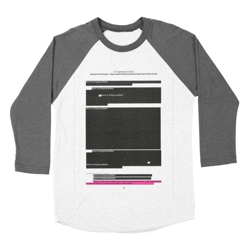 Redacted Mueller Report Page 18 Men's Baseball Triblend Longsleeve T-Shirt by DRAWMARK