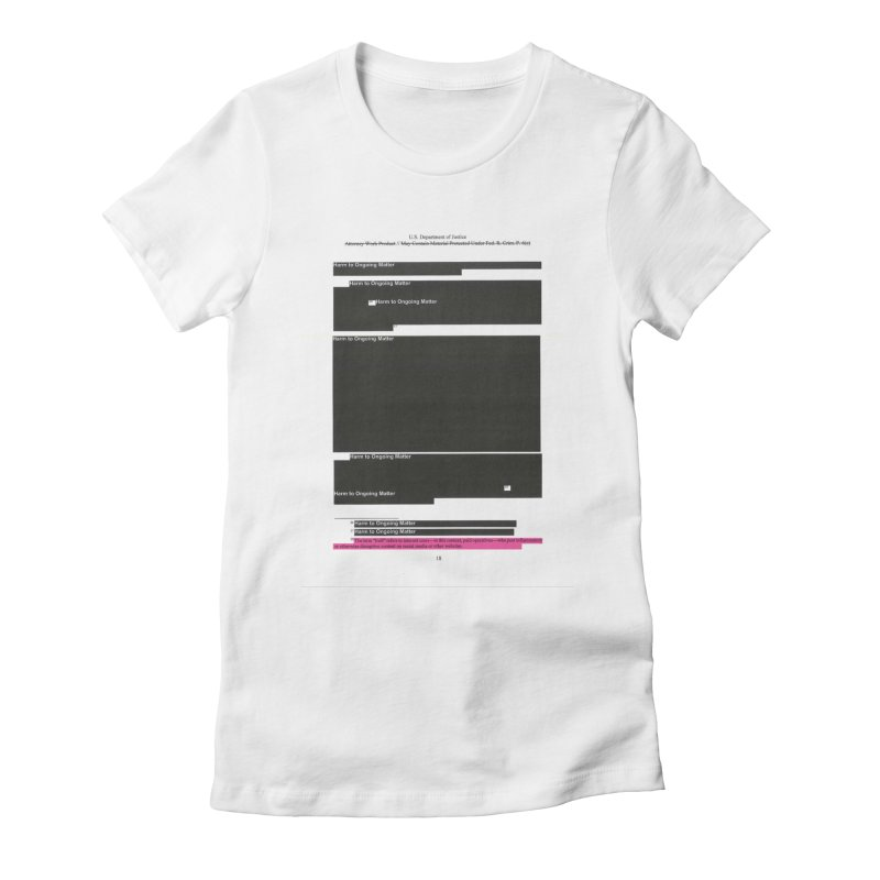 Redacted Mueller Report Page 18 Women's Fitted T-Shirt by DRAWMARK