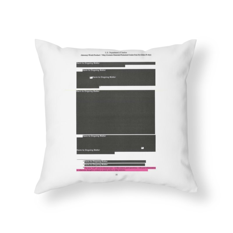 Redacted Mueller Report Page 18 Home Throw Pillow by DRAWMARK