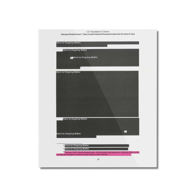 Redacted Mueller Report Page 18 Home Mounted Acrylic Print by DRAWMARK