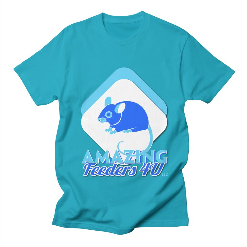 Amazing Feeders 4U in Men's Regular T-Shirt Cyan by Drawn to Scales