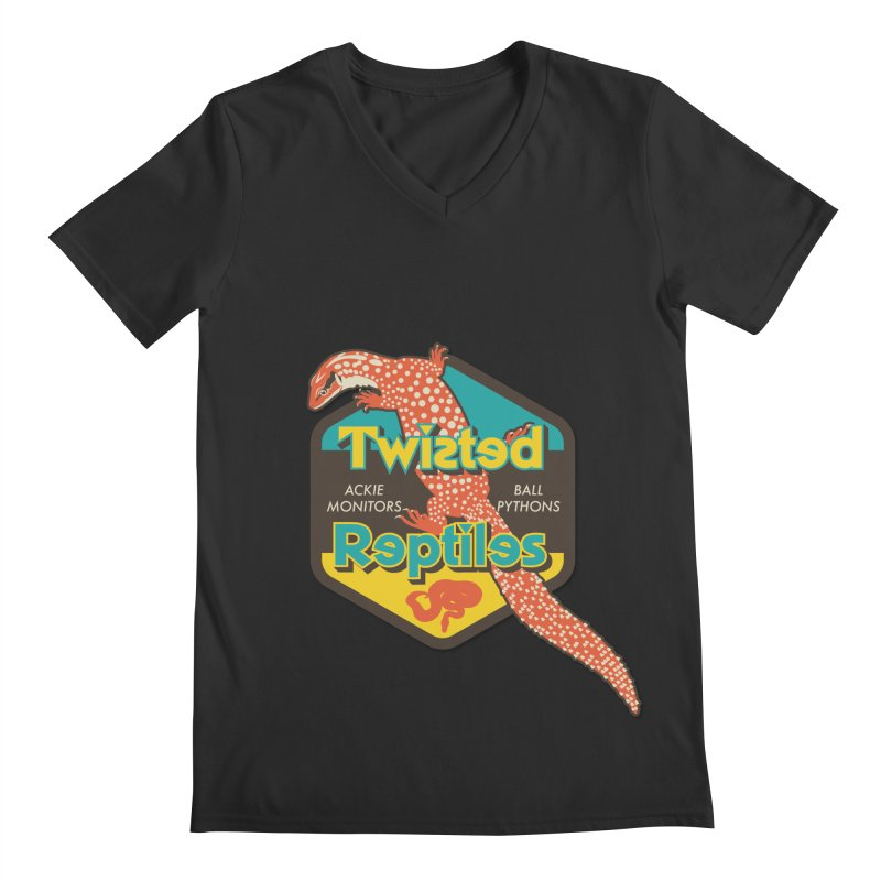 TWISTED REPTILES Men's Regular V-Neck by Drawn to Scales