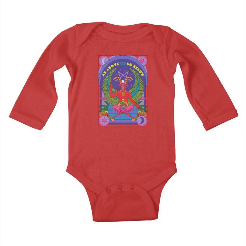 As Above So Below Kids Baby Longsleeve Bodysuit by Draw! Pilgrim