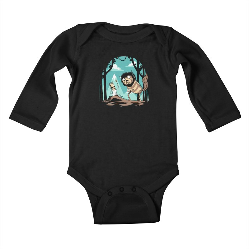 Where the Wild Adventures Are Kids Baby Longsleeve Bodysuit by Drawsgood Illustration and Design