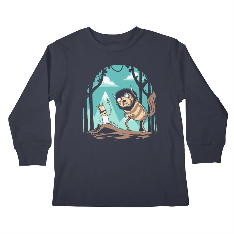 Where the Wild Adventures Are Kids Longsleeve T-Shirt by Drawsgood Illustration and Design