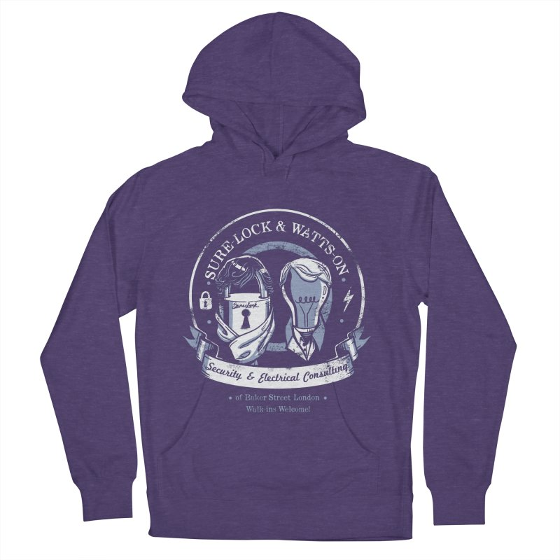 Sure-Lock & Watts-On Consulting Men's French Terry Pullover Hoody by Drawsgood Illustration and Design