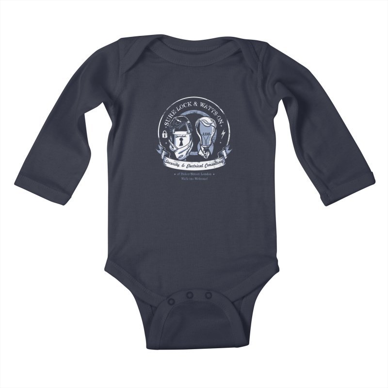 Sure-Lock & Watts-On Consulting Kids Baby Longsleeve Bodysuit by Drawsgood Illustration and Design