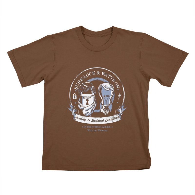 Sure-Lock & Watts-On Consulting Kids T-shirt by Drawsgood Illustration and Design