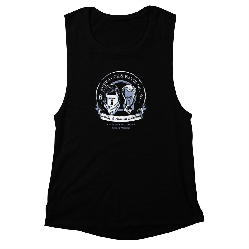 Sure-Lock & Watts-On Consulting Women's Muscle Tank by Drawsgood Illustration and Design