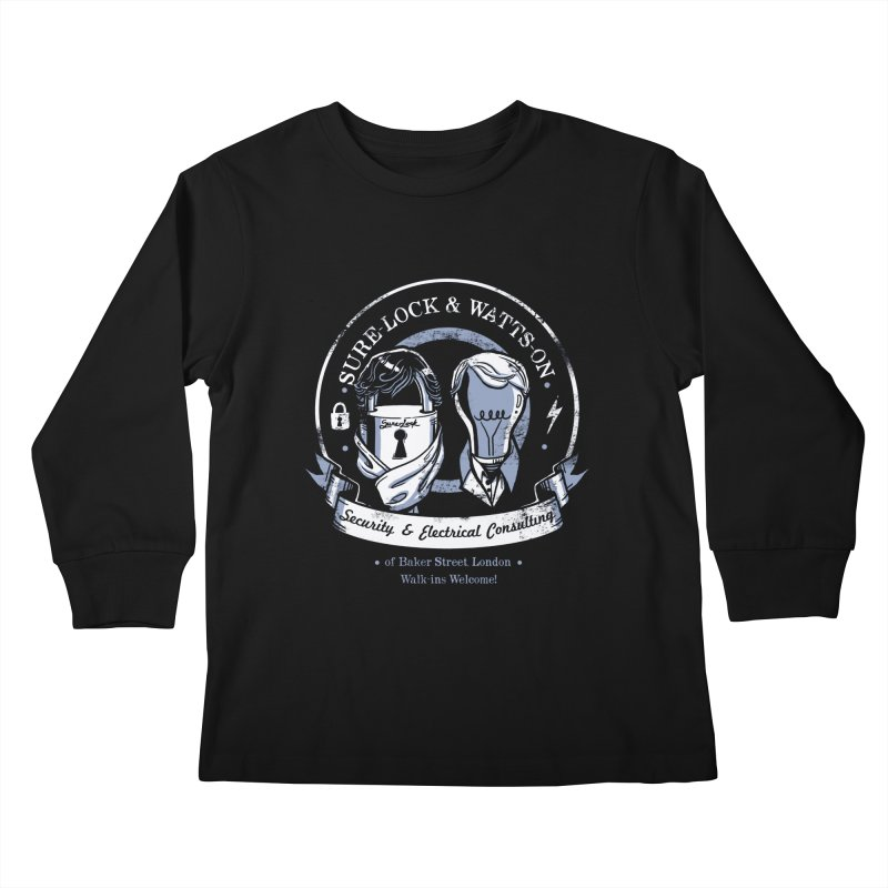 Sure-Lock & Watts-On Consulting Kids Longsleeve T-Shirt by Drawsgood Illustration and Design