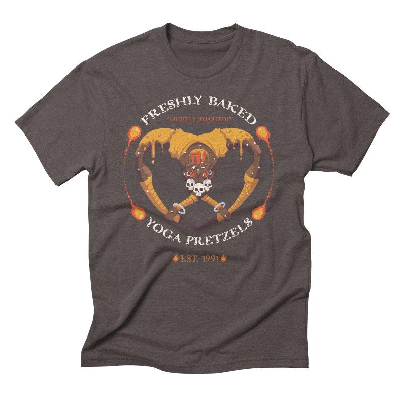 Yoga Pretzels Men's Triblend T-Shirt by Drawsgood Illustration and Design