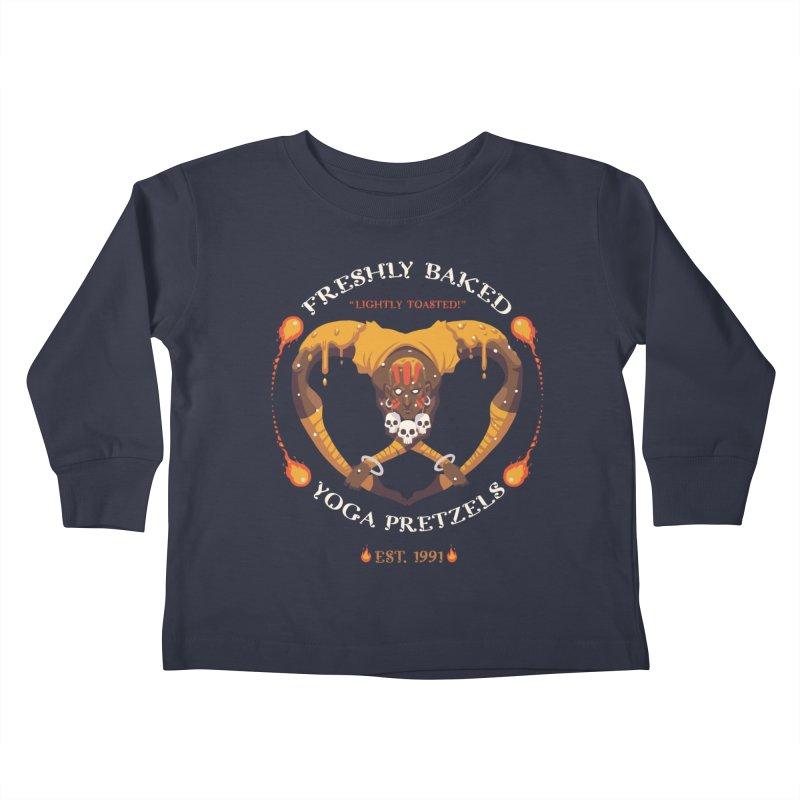 Yoga Pretzels Kids Toddler Longsleeve T-Shirt by Drawsgood Illustration and Design