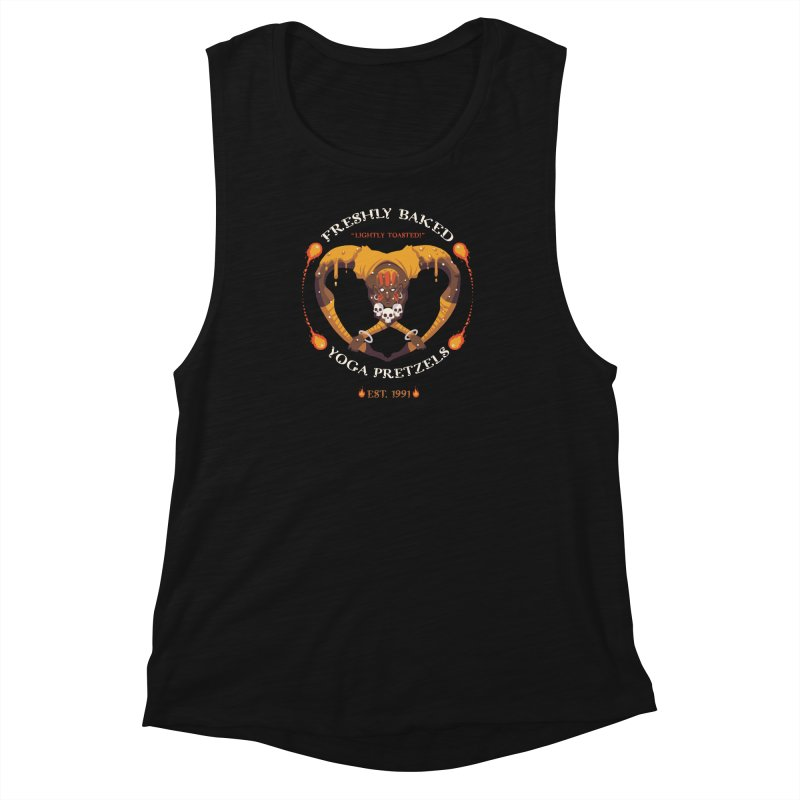Yoga Pretzels Women's Muscle Tank by Drawsgood Illustration and Design