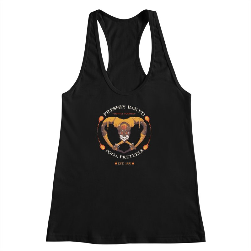 Yoga Pretzels Women's Racerback Tank by Drawsgood Illustration and Design