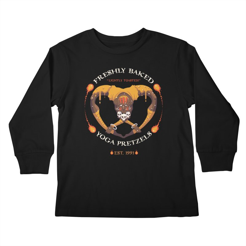 Yoga Pretzels Kids Longsleeve T-Shirt by Drawsgood Illustration and Design